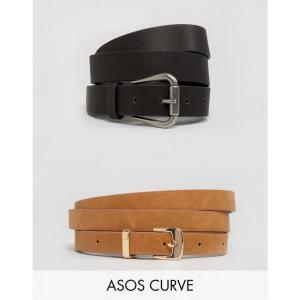 エイソス レディース ベルト ASOS CURVE 2 Pack Jeans Belt And Skinny Belt Pack Water Based PU Multi|fermart