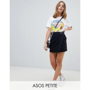 エイソス ASOS Petite レディース スカート デニム ウォッシュ加工 ラップスカート ASOS DESIGN Petite denim wrap skirt in washed black ウォッシュブラック|fermart