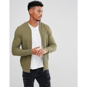 エイソス ASOS DESIGN メンズ ブルゾン アウター ASOS Knitted Muscle Fit Bomber Jacket In Khaki Khaki|fermart
