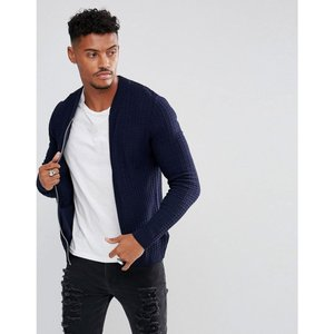 エイソス メンズ ブルゾン アウター Knitted Muscle Fit Bomber Jacket In Navy Navy|fermart