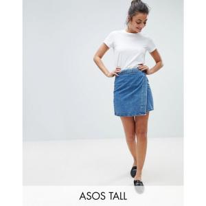 エイソス ASOS Tall レディース スカート デニム ラップスカート ASOS DESIGN Tall denim wrap skirt in stonewash blue ブルー|fermart
