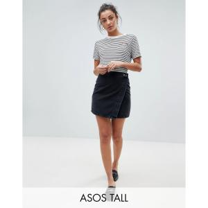 エイソス ASOS Tall レディース スカート デニム ウォッシュ加工 ラップスカート ASOS DESIGN Tall denim wrap skirt in washed black ウォッシュブラック|fermart
