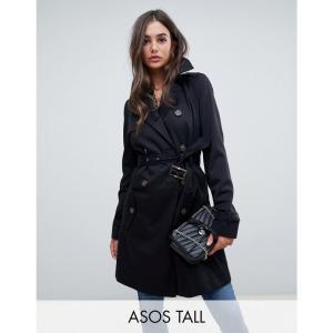 エイソス ASOS Tall レディース トレンチコート アウター ASOS DESIGN Tall classic trench coat Black|fermart