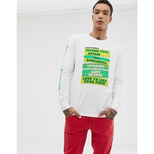 アディダス メンズ 長袖Tシャツ トップス adidas Skateboarding Long Sleeve T-Shirt With Sleeve Print In White CF5813 White|fermart
