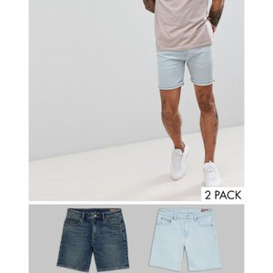 エイソス メンズ ショートパンツ ボトムス・パンツ Denim Shorts In Skinny Vintage Dark Wash & Light Wash Blue Light blue / d blue|fermart