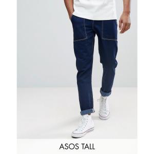 エイソス メンズ ジーンズ・デニム ボトムス・パンツ TALL Tapered Jeans In Recycled Cotton Indigo|fermart