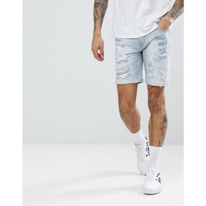 エイソス メンズ ショートパンツ ボトムス・パンツ Denim Shorts In Skinny Light Wash With Heavy Rips Light wash blue|fermart
