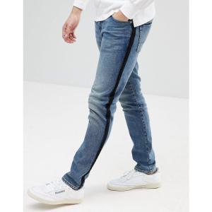 エイソス ASOS DESIGN メンズ ジーンズ・デニム ボトムス・パンツ ASOS Skinny Jeans In Dark Wash Blue With Side Stripe Dark wash blue|fermart