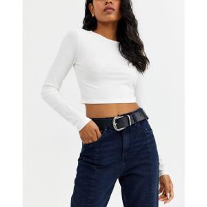 エイソス レディース ベルト DESIGN leather tipped jeans belt with shiny silver metal Black fermart