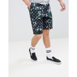 エイソス メンズ ショートパンツ ボトムス・パンツ DESIGN Skater Shorts in Checkered Floral Print Grey|fermart