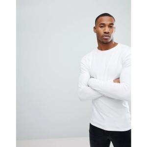 エイソス メンズ 長袖Tシャツ トップス Muscle Long Sleeve T-Shirt With Crew Neck In White White|fermart