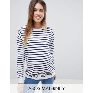エイソス レディース スウェット・トレーナー トップス ASOS DESIGN Maternity sweat in stripe White/navy fermart