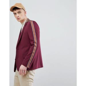 エイソス ASOS DESIGN メンズ スーツ・ジャケット アウター skinny blazer in burgundy with taping Burgundy fermart