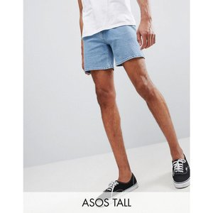エイソス メンズ ショートパンツ ボトムス・パンツ ASOS DESIGN Tall denim shorts in skinny light wash blue shorter length Light wash blue|fermart