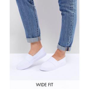 エイソス ASOS DESIGN レディース スニーカー シューズ・靴 Dodger Wide Fit Plimsolls White fermart
