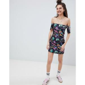 アディダス レディース ワンピース ワンピース・ドレス Floral Print Reversible Off Shoulder Dress Black fermart