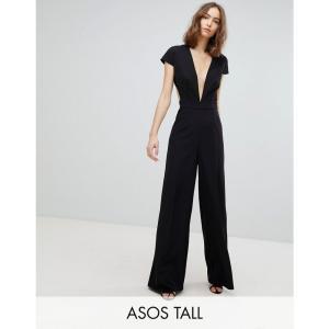 エイソス レディース オールインワン ワンピース・ドレス ASOS TALL Plunge Neck Jumpsuit with Wide Leg and Open Back Black|fermart
