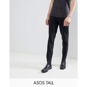 エイソス メンズ ジーンズ・デニム ボトムス・パンツ DESIGN Tall Skinny Twisted Seam Jeans In Black Black|fermart
