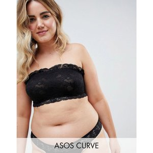 エイソス ASOS Curve レディース ブラジャーのみ インナー・下着 ASOS DESIGN Curve Lace Bandeau & Hidden Underwire Black|fermart