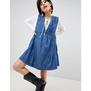 フリーピープル レディース パーティードレス ワンピース・ドレス Esme Denim Mini Dress Blue|fermart
