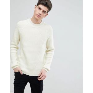マンゴ Mango メンズ ニット・セーター トップス man ribbed wool-blend sweater in ecru エクリュ|fermart