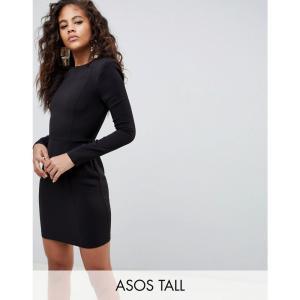 エイソス レディース ワンピース ワンピース・ドレス ASOS DESIGN Tall Shoulder Pad Mini Dress With Seams Black fermart