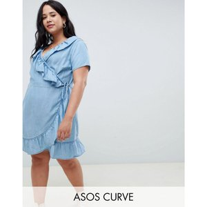 エイソス ASOS Curve レディース ワンピース ワンピース・ドレス ASOS DESIGN Curve denim wrap dress with frill detail in midwash blue Blue|fermart