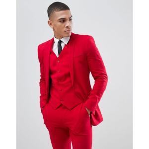 エイソス メンズ スーツ・ジャケット アウター ASOS DESIGN super skinny suit jacket in red Red|fermart