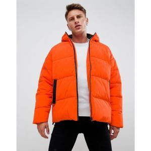 エイソス ASOS DESIGN メンズ ダウン・中綿ジャケット アウター puffer with hood in orange Orange|fermart