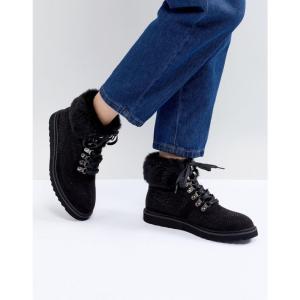 ピーシーズ Pieces レディース シューズ・靴 ハイキング・登山 Sally Hiking Boot with Faux Fur Ankle Black|fermart