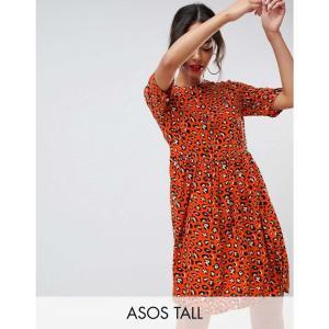 エイソス ASOS Tall レディース ワンピース ワンピース・ドレス ASOS DESIGN Tall animal printed smock mini dress Multi|fermart