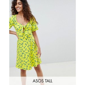 エイソス ASOS Tall レディース ワンピース ワンピース・ドレス ASOS DESIGN Tall bubble sleeve tie front skater sundress Multi|fermart