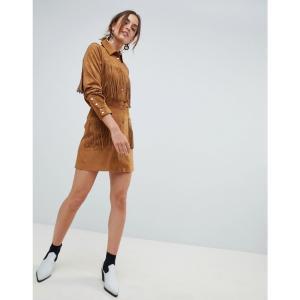 マンゴ レディース スカート fringe faux suede skirt in brown Brown|fermart