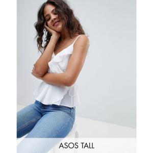 エイソス ASOS Tall レディース スリップ・キャミソール インナー・下着 ASOS DESIGN Tall ruffle wrap cami Ivory|fermart
