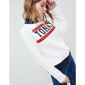 トミー ヒルフィガー レディース スウェット・トレーナー トップス Tommy Hilfiger High Neck Logo Sweatshirt White|fermart