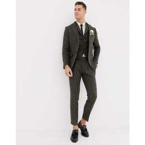 エイソス ASOS DESIGN メンズ スラックス ボトムス・パンツ slim suit trousers in 100% wool Harris Tweed khaki micro check Khaki|fermart