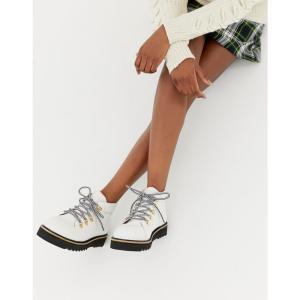 セレクテッド オム Selected レディース シューズ・靴 ハイキング・登山 Femme Leather Hiking Boot White|fermart