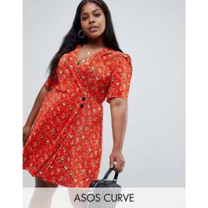 エイソス ASOS Curve レディース ワンピース ワンピース・ドレス ASOS DESIGN Curve ditsy print plisse mini dress with button detail Multi|fermart