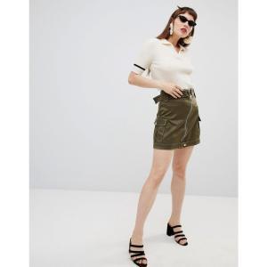 マンゴ レディース スカート Mango zip detail utility skirt in khaki Green|fermart