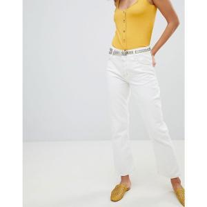 マンゴ レディース ジーンズ・デニム ボトムス・パンツ kick flare contrast stitch jeans in white White|fermart