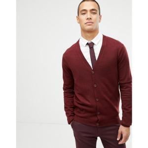 エイソス ASOS DESIGN メンズ カーディガン トップス merino wool cardigan in burgundy Burgundy|fermart