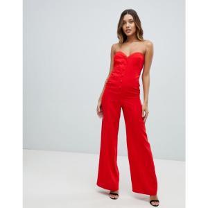 エイソス ASOS DESIGN レディース オールインワン ワンピース・ドレス bandeau sweetheart jumpsuit with button & buckle detail Red fermart