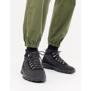エイソス ASOS DESIGN メンズ シューズ・靴 ハイキング・登山 technical hiker boots in black textile Black|fermart