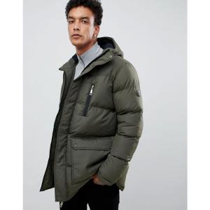 クリミナル Criminal Damage メンズ ダウン・中綿ジャケット アウター longline puffer jacket in khaki Green|fermart