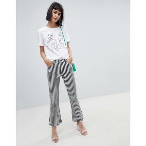 マンゴ レディース ジーンズ・デニム ボトムス・パンツ Mango mono stripe kickflare jean in black and white Mono stripe|fermart