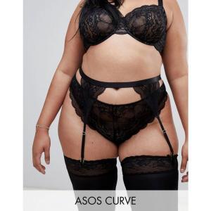 エイソス ASOS Curve レディース ガーターベルト インナー・下着 ASOS DESIGN Curve Roxy lace suspender Black|fermart