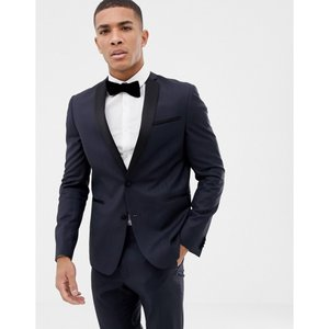 エイソス ASOS DESIGN メンズ スーツ・ジャケット タキシード アウター slim tuxedo suit jacket in navy 100% wool ネイビー fermart