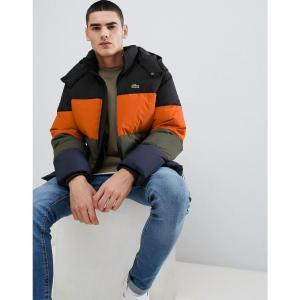 ラコステ Lacoste メンズ ダウン・中綿ジャケット アウター padded hooded colour block puffer jacket in black Black|fermart