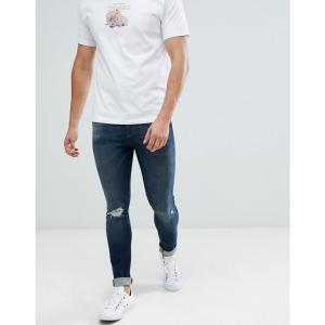 エイソス ASOS DESIGN メンズ ジーンズ・デニム ボトムス・パンツ 12.5oz super skinny jeans in dark wash blue with knee rip ダークウォッシュブルー|fermart