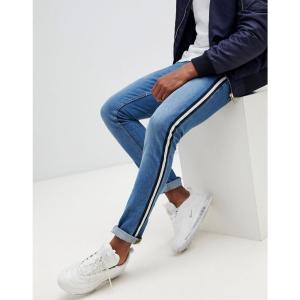 エイソス ASOS DESIGN メンズ ジーンズ・デニム ボトムス・パンツ super skinny jeans in mid wash blue with side stripe Mid wash blue|fermart